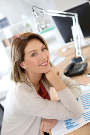 Portrait of smiling businesswoman in office photo