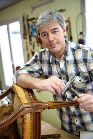 antiquarian: Portrait of craftsman in workshop
