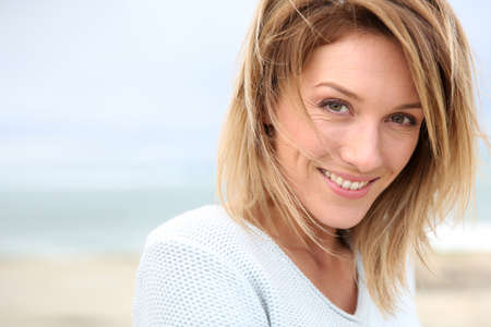 Portrait of beautiful 40-year-old blond woman photo