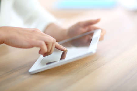 bodypart: Closeup of hand sliding on digital tablet