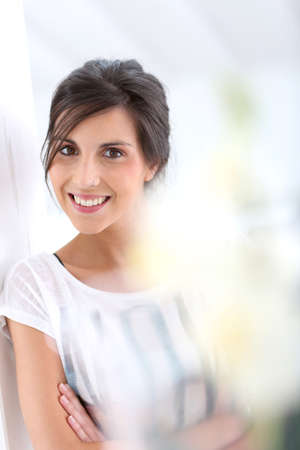 Portrait of happy young woman photo