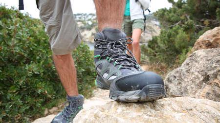hiking shoes: Closeup of mans trekking shoe Stock Photo