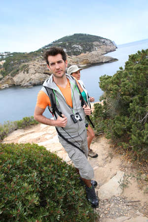 Couple on a hiking day in Balear island