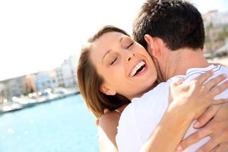 finding love: Couple hugging and being happy to get together Stock Photo
