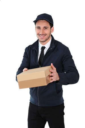 cardbox: Smiling delivery man holding cardbox, isolated