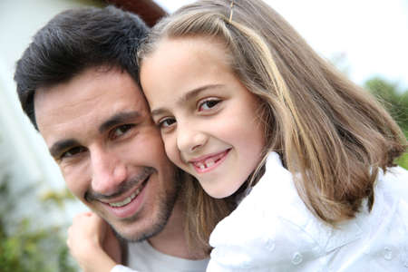 single parent: Portrait of daddy with little girl Stock Photo