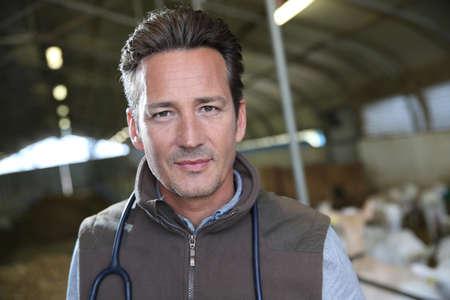 medicalcare: Portrait of veterinarian standing in barn