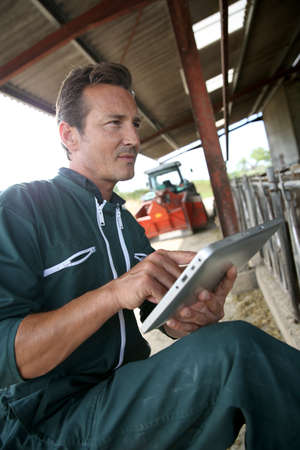 Farmer in barn using digital tablet photo