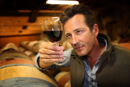 Winegrower in wine-cellar holding glass of wine photo