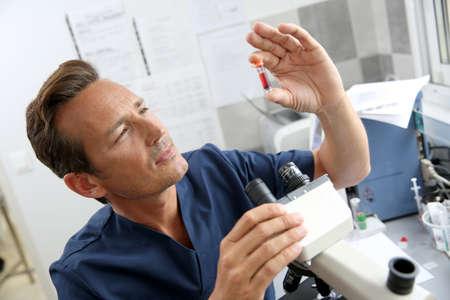 biologist: Doctor checking on blood sample