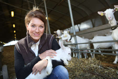 Cheerful farmer woman carrying baby goat in barn photo