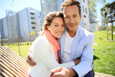 Portrait of mature loving couple enjoying sunny day Stock Photo