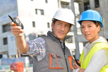 building site: Construction team on building site Stock Photo