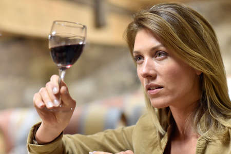 Woman tasting red wine in cellar photo
