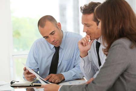 team meeting: Business team meeting in office