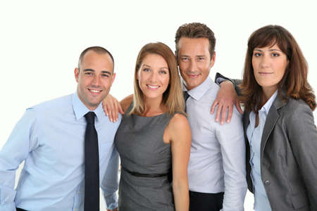 Portrait of successful and cheerful business team