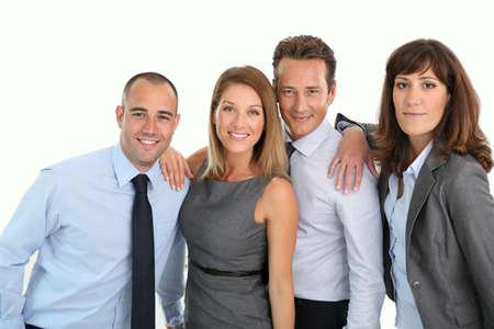 Portret van een succesvolle en vrolijke business team