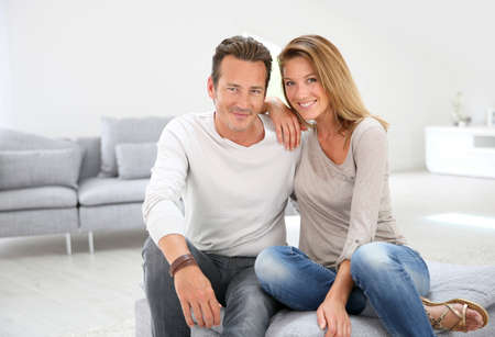 40s adult: Lovely 40-year-old couple at home