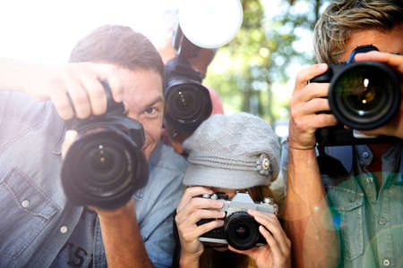 Group of paparazzi people taking picture  Stock Photo