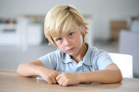 blond boy: Portrait of sweet blond little boy