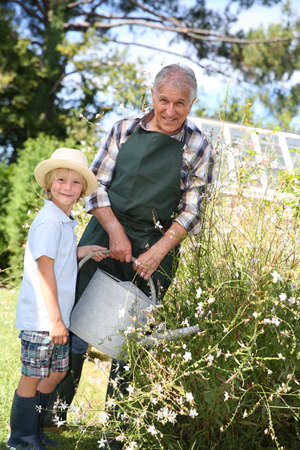 Senior man with grandkid watering plants photo