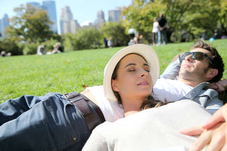 Couple relaxing in Central Park photo
