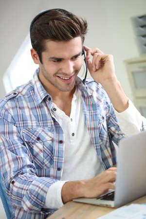 customer service representative: Customer service representative in training period Stock Photo