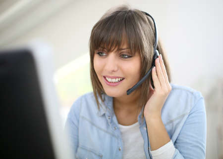 customer service representative: Customer service representative on the phone Stock Photo
