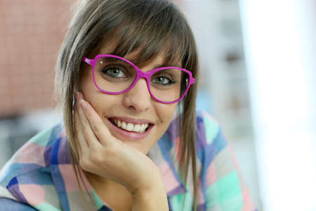 trendy girl: Portrait of young trendy girl with eyeglasses