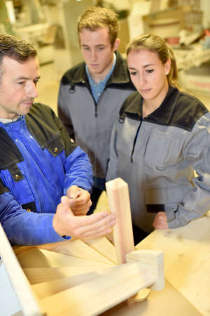 training course: Group of students in woodwork training course