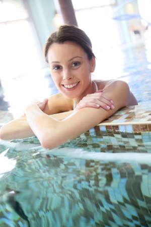 seawater: Woman relaxing in seawater spa pool