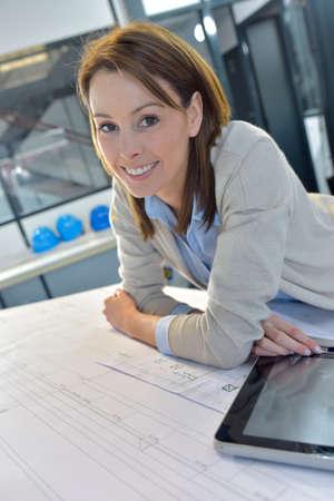 woman engineer: Woman engineer working on digital tablet