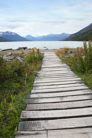 argentino: wooden path leading to Argentino lake, South Patagonia