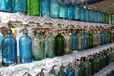 aires: Old siphon bottles for soda, flea market of Buenos Aires Stock Photo