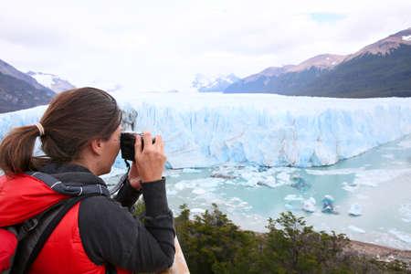perito moreno: Tourist taking picture of Perito Moreno Glacier
