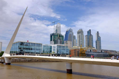mujer: View of Puente de la Mujer, Puerto Madero in Buenos Aires Stock Photo