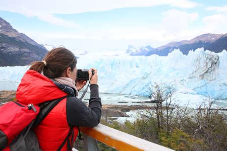 moreno glacier: Tourist taking picture of Perito Moreno Glacier