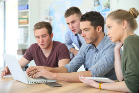 Group of young people in business training Stock Photo