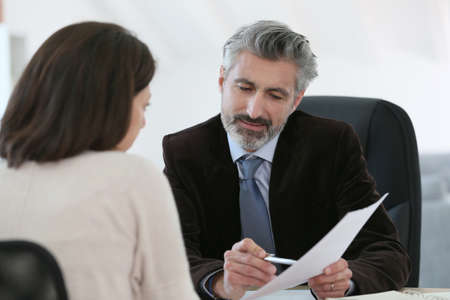 mortgage: Attorney meeting client in office
