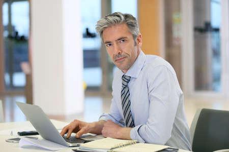 mature businessman: Mature businessman working in office Stock Photo