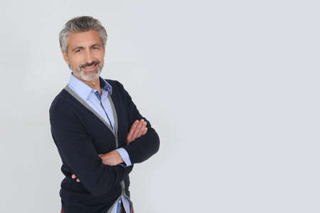 grey hair: Smiling handsome man with grey hair, isolated