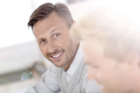 40 years old man: Portrait of middle-aged man working in office Stock Photo