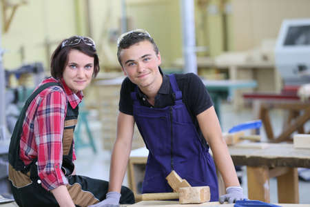 workmates: Portrait of young apprentices in carpentry school