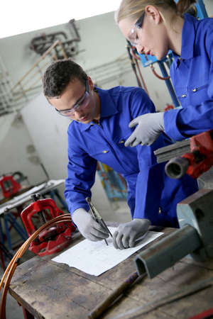 apprentice: Young people in plumbing professional training