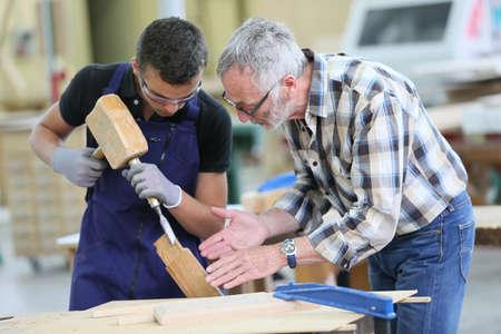 Giovane apprendista con insegnante che lavora su un pezzo di legno Archivio Fotografico