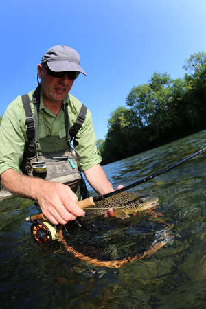 fishing equipment: Fly-fisherman catching brown trout in river