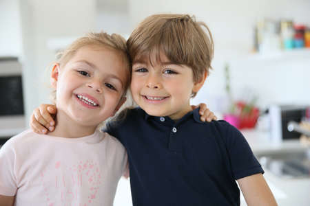 brother sister: Portrait of cute 4-year-old kids Stock Photo