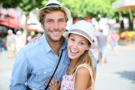 basque woman: Portrait of cheerful couple in summer vacation, South of France Stock Photo