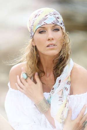 gypsy woman: Portrait of attractive woman with gypsy style Stock Photo