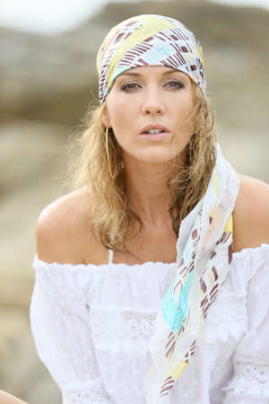 gypsy: Portrait of attractive woman with gypsy style Stock Photo
